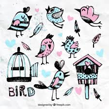 <b>Hand painted birds</b> and cages Vector | Free Download