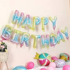 Gradient Color Happy Birthday Foil Balloon Set <b>16 Inch</b> Adult <b>Party</b> ...