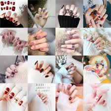 <b>24Pcs</b> Ins Press on Nails Short Full Cover Faux Nails Sticker Metal ...
