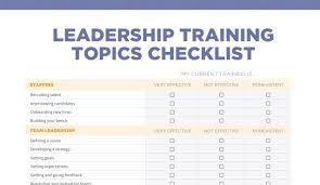 training topics the essential checklist leadership training topics