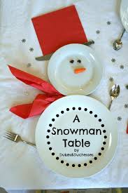 household dining table set christmas snowman knife: a snowman table setting id use blue napkins instead of red raisins and carrot for face perhaps cracker between the two plates for a bow