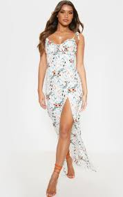 <b>White Floral Print</b> Tie Strappy Midi Dress | PrettyLittleThing USA