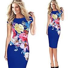 wyfeay Vfemage Womens <b>Elegant Flower Floral</b> Printed <b>Ruched</b> ...