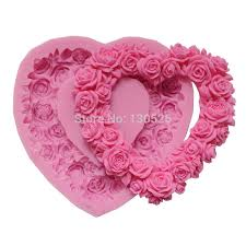 <b>Big Size Rose Silicone</b> Mold Rose Heart Wreath Silicone Rubber ...