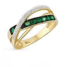 Золотое <b>кольцо</b> с <b>изумрудами</b> и бриллиантами SUNLIGHT ...