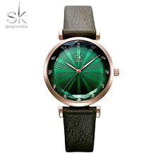 Shop <b>SHENGKE SK Luxury Brand</b> Leather Ladies Wrist Watches ...