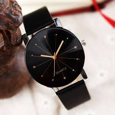 Classic <b>Fashion Women Girl Stainless</b> Steel Black Leather Band ...