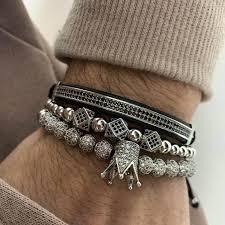<b>Hot</b> Fashion Men Royal Crown Bracelets <b>Set Luxury</b> Silver Gold <b>Cz</b> ...