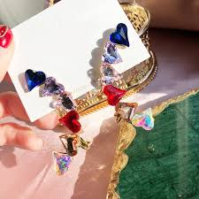 MENGJIQIAO <b>Korean</b> Exaggerated <b>Luxury</b> Colorful Crystal Love ...