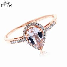 2019 <b>HELON 5x7mm Pear Morganite</b> Pave Natural Diamonds Ring ...