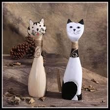 Cat Wooden Décor <b>2 Piece</b> Figurines | Wooden decor, Home decor ...