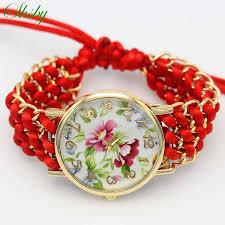 shsby <b>new</b> Ladies flower hand knitted wristwatch gold <b>women dress</b> ...