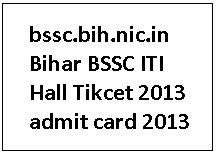 Bihar ITICAT Admit Card 2013