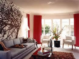living roomred curtain glass window plants white arm sofa ceramic floor rug glass table beautiful beige living room grey sofa