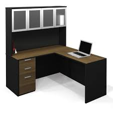 l shaped black wooden office table with brown wooden drawers and counter top also brilliant office table top stock photos images