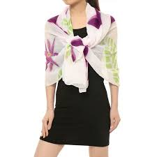 Women <b>Rectangle</b> Sheer Chiffon Wrap Floral Leaf Prints Scarf White ...
