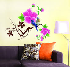flower wall stickers home decor cycling buy decals design design blue birds with flowers wall sticker pvc viny