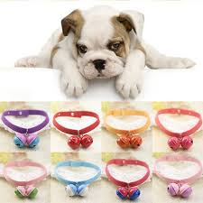 <b>Suede Fabric Cat</b> Dog Puppy Pet Collar Cute Solid Color Bell ...