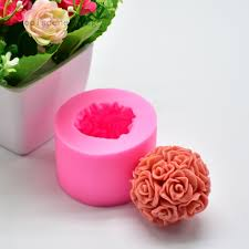 <b>Big Rose Flower</b> Ball <b>3D Silicone</b> Soap Moulds Candle Mold Cake ...