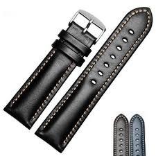 <b>Watchbands</b> Men <b>Black Brown</b> Genuine Leather <b>Soft</b> Watch Strap ...