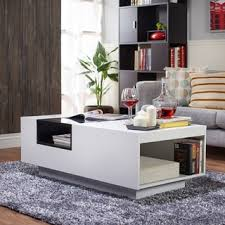 room modern camille glass: furniture of america kassalie modern two tone white black glass top coffee table