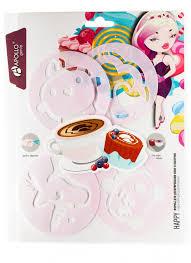 Набор <b>форм для декорирования</b> кофе и выпечки Happy, 4 пр