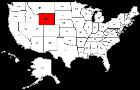 United States map highlighting Wyoming
