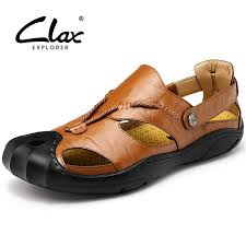 <b>Clax Men</b> Leather <b>Sandals</b> Outdoor 2018 Summer Handmade ...