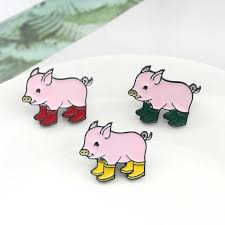 Cute Pig Brooch 3 Color Pig Collection Leather Boots <b>Enamel Pin</b> ...