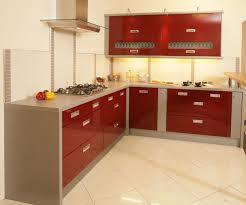 high gloss red kitchen cabinet
