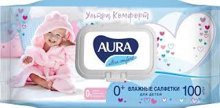 <b>Aura</b> Ultra Comfort <b>Салфетки влажные</b> для детей, с экстрактом ...