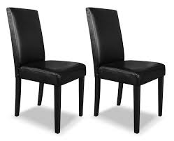 black faux leather accent dining chair – set of   the brick