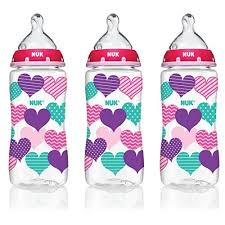 NUK 14073 Hearts Baby <b>Bottle with Perfect Fit</b> Nipple, 10 Ounces, 3 ...