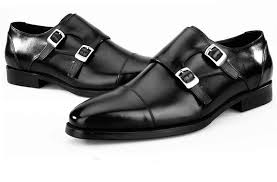 Fashion black / Blue Double Monk Strap <b>Shoes Mens Business</b> ...