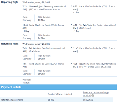 sample itinerary from jfk tlv jfk for 25k miles plus 239 with 2 hour connections in paris atlanta tel aviv business