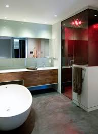 bathroom place vanity contemporary: curbless shower hinged shower door wall mounted vanity