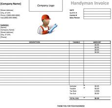 handyman invoice template  excel  pdf  word  doc  microsoft excel xls