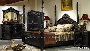 hot selling middle east style black bedroom furniture black hand carved antique bedroom furniture black antique style bedroom