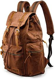 GEARONIC TM <b>Men</b> 21L Vintage Canvas <b>Backpack</b> Leather Laptop