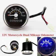 12V Round <b>Motorcycle</b> LCD Digital <b>Speedometer Odometer Double</b> ...