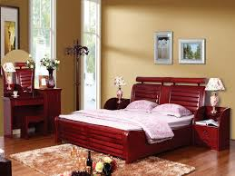 bedroom design red contemporary wood: solid wood modern bedroom red furniture with unique table lamp and mirror best matching wall painting
