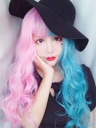 <b>2019 New Lolita</b> Half Pink Half Blue Synthetic Wefted Cap Wig ...