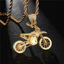 Hip Hop Copper Motorcycle Pendant Fashion Punk <b>Gold Color Iced</b> ...