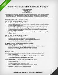 sample resume for operations manager operation manager resume