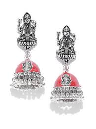 Zobby Earrings : Buy Zobby <b>Red Silver</b> Plated <b>Goddess</b> Lakshmi ...