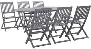 vidaXL <b>7 Piece Solid Acacia</b> Wood Garden Dining Set Easy Clean ...