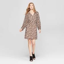 <b>Womens Leopard</b> Print Long Sleeve <b>Chiffon</b> Dress A New Day Tan ...