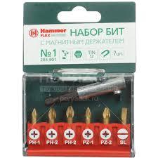 <b>Набор бит</b> Hammerflex TIN <b>203-901</b> PH PZ SL 1-2, 25 мм, 7 шт в ...