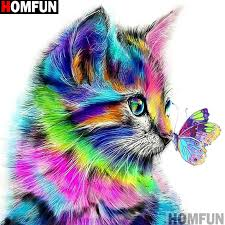 "<b>HOMFUN Full Square/Round Drill</b> 5D DIY Diamond Painting ""Cat ..."