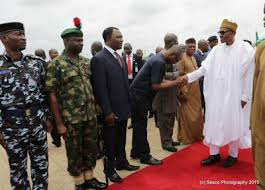 Image result for pictures president buhari been welcome back to nigeria